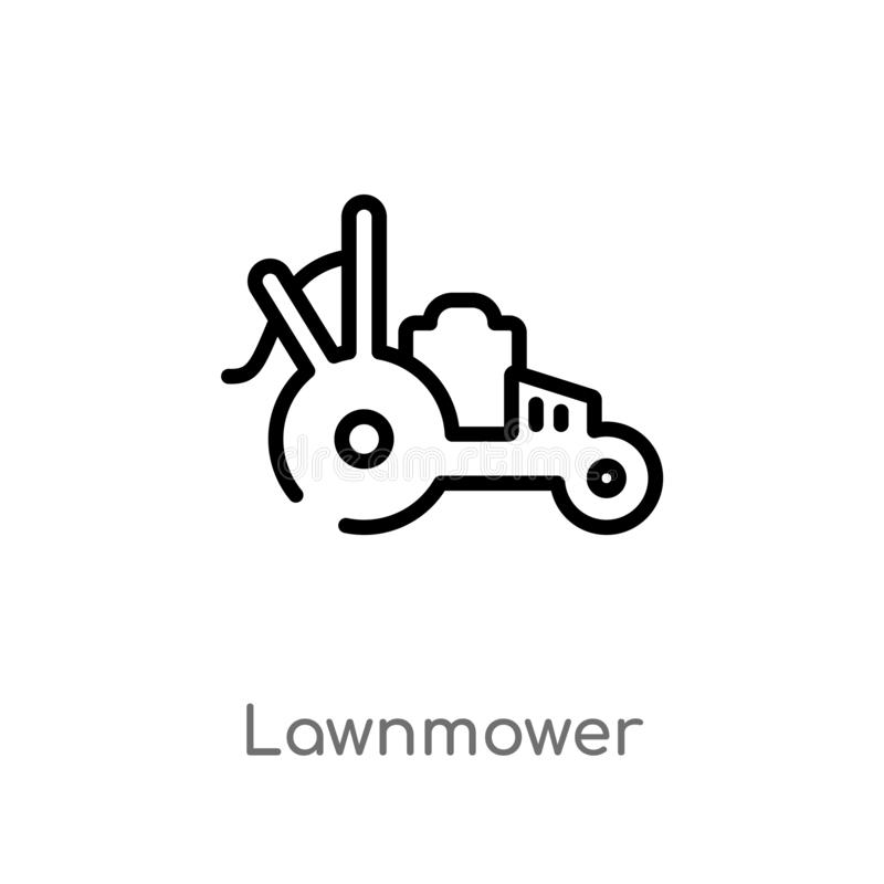 outline lawnmower vector icon. isolated black simple line element illustration from farming concept. editable vector stroke royalty free illustration