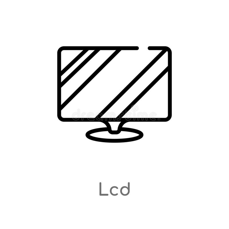 Outline lcd vector icon. isolated black simple line element illustration from electronic devices concept. editable vector stroke. Lcd icon on white background vector illustration