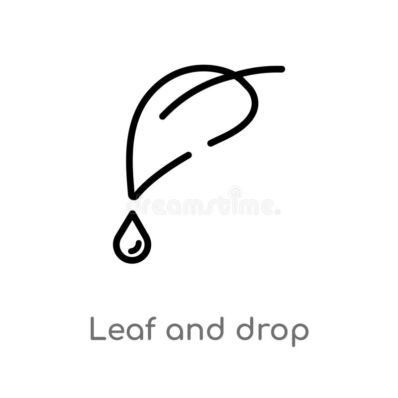outline leaf and drop vector icon. isolated black simple line element illustration from nature concept. editable vector stroke royalty free illustration