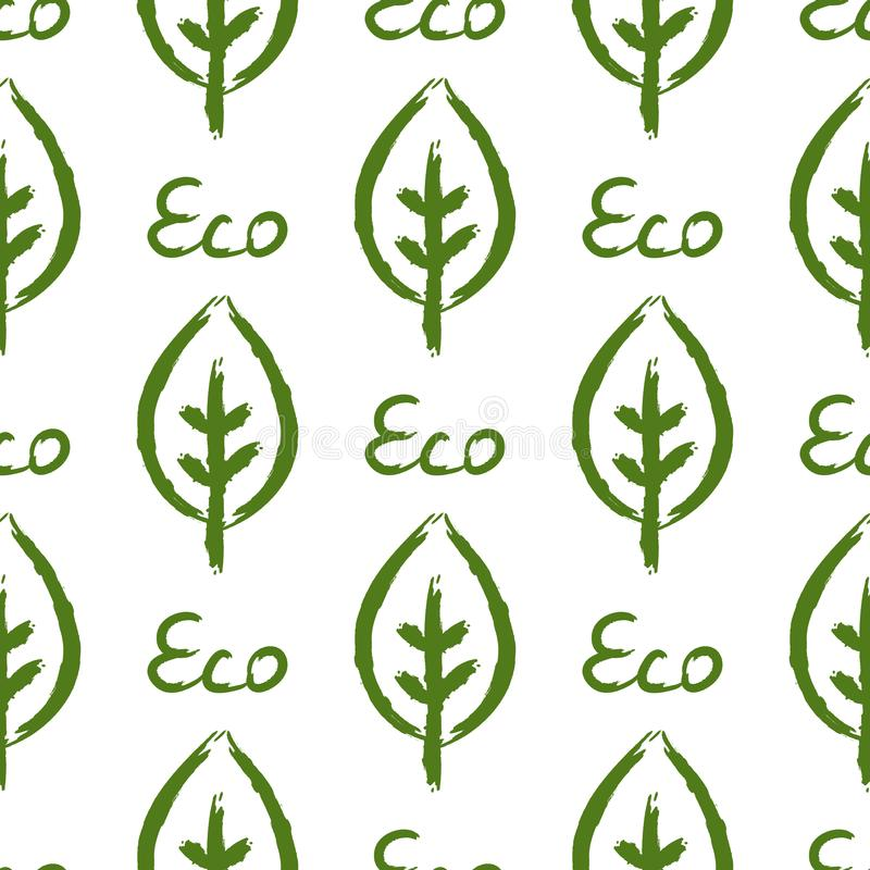 Outline of leaf and text Eco. Ecological seamless pattern. Drawn by hand. Watercolour, sketch, grunge, graffiti. Vector illustration. Green, white colour vector illustration