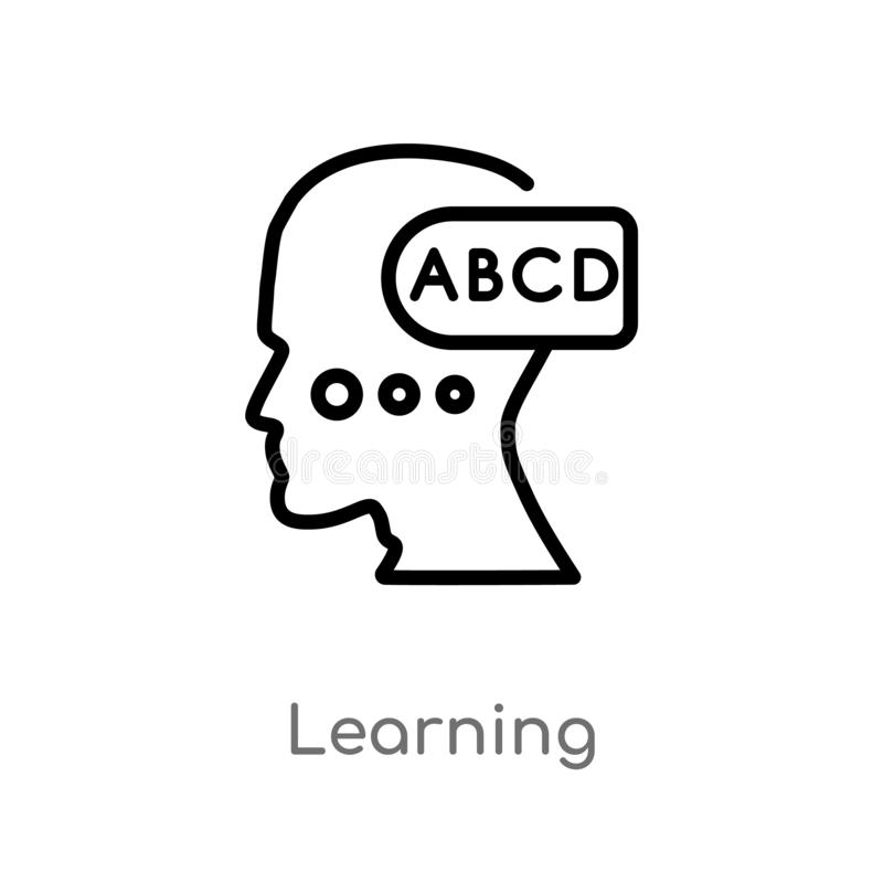 Outline learning vector icon. isolated black simple line element illustration from brain process concept. editable vector stroke. Learning icon on white royalty free illustration