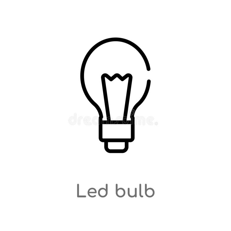 outline led bulb vector icon. isolated black simple line element illustration from nature concept. editable vector stroke led bulb stock illustration