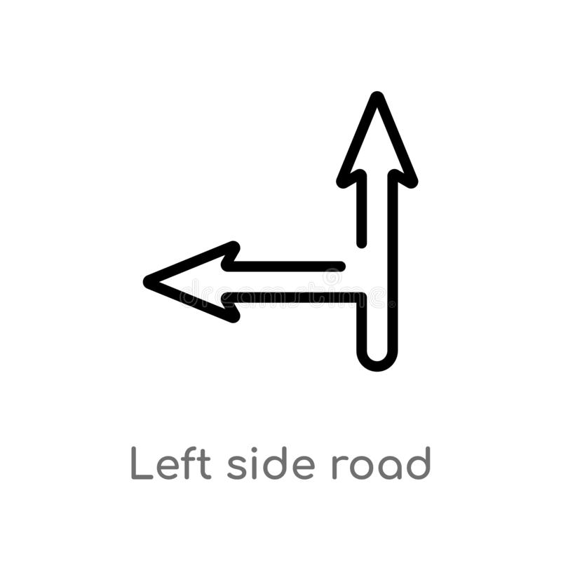 outline left side road vector icon. isolated black simple line element illustration from maps and flags concept. editable vector stock illustration