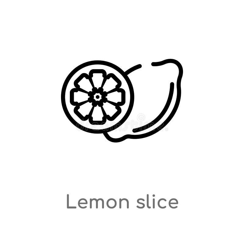 Outline lemon slice vector icon. isolated black simple line element illustration from food concept. editable vector stroke lemon. Slice icon on white background stock illustration
