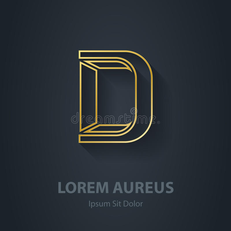 Outline Letter D. Vector elegant gold font. Template for company royalty free illustration