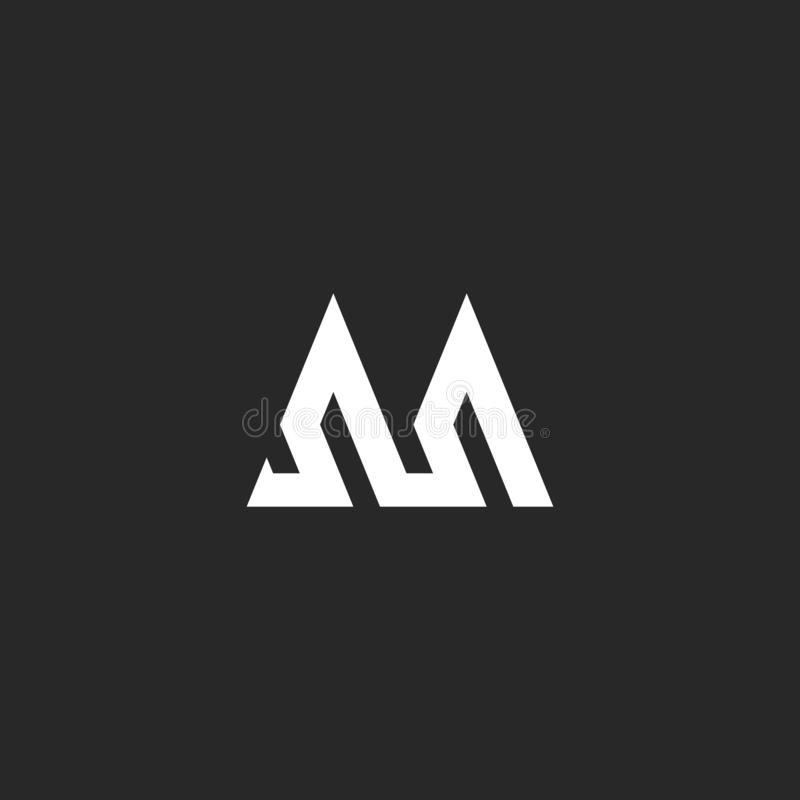 Outline letter M logo hipster initial monogram mockup, broken line abstract wave geometric shape, simple stripes graphic identity royalty free illustration