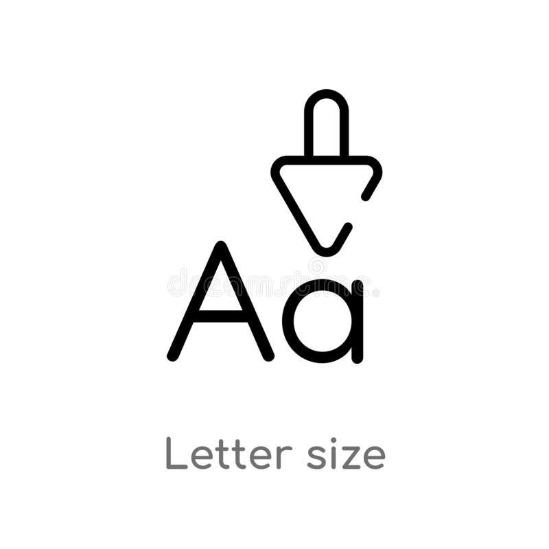 Outline letter size vector icon. isolated black simple line element illustration from user interface concept. editable vector. Stroke letter size icon on white stock illustration