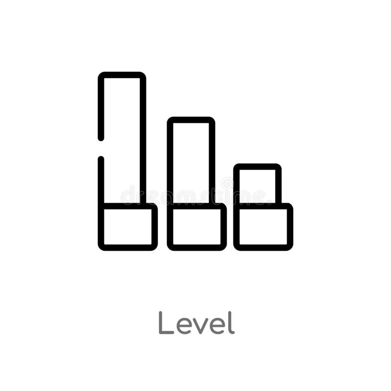 Outline level vector icon. isolated black simple line element illustration from user interface concept. editable vector stroke. Level icon on white background stock illustration