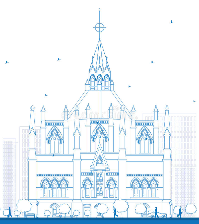 Outline Library of Parliament, Ottawa, Ontario, Canada. Vector illustration. Business Travel and Tourism Concept with Historic Building. Image for Presentation royalty free illustration