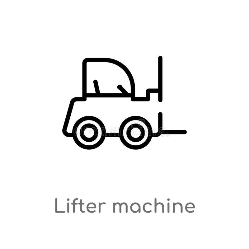 outline lifter machine vector icon. isolated black simple line element illustration from buildings concept. editable vector stroke vector illustration