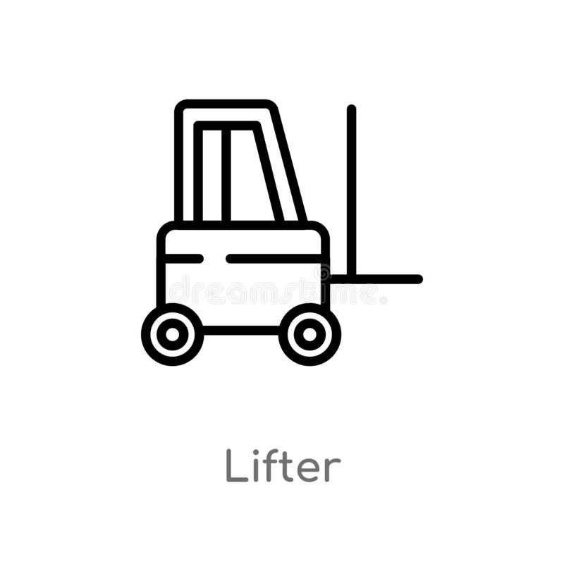 outline lifter vector icon. isolated black simple line element illustration from transport concept. editable vector stroke lifter vector illustration