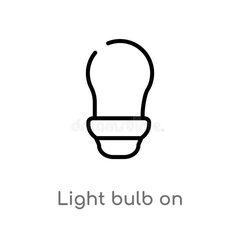 outline light bulb on vector icon. isolated black simple line element illustration from ultimate glyphicons concept. editable royalty free illustration
