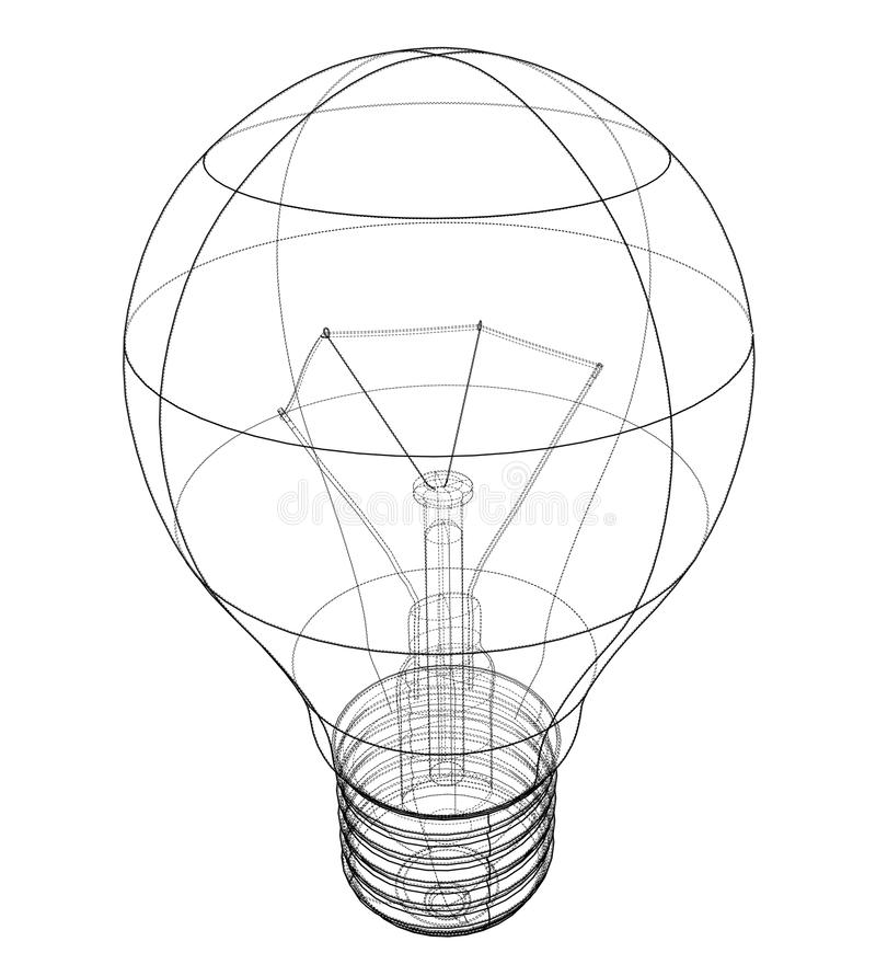 Outline light bulb. Vector stock illustration