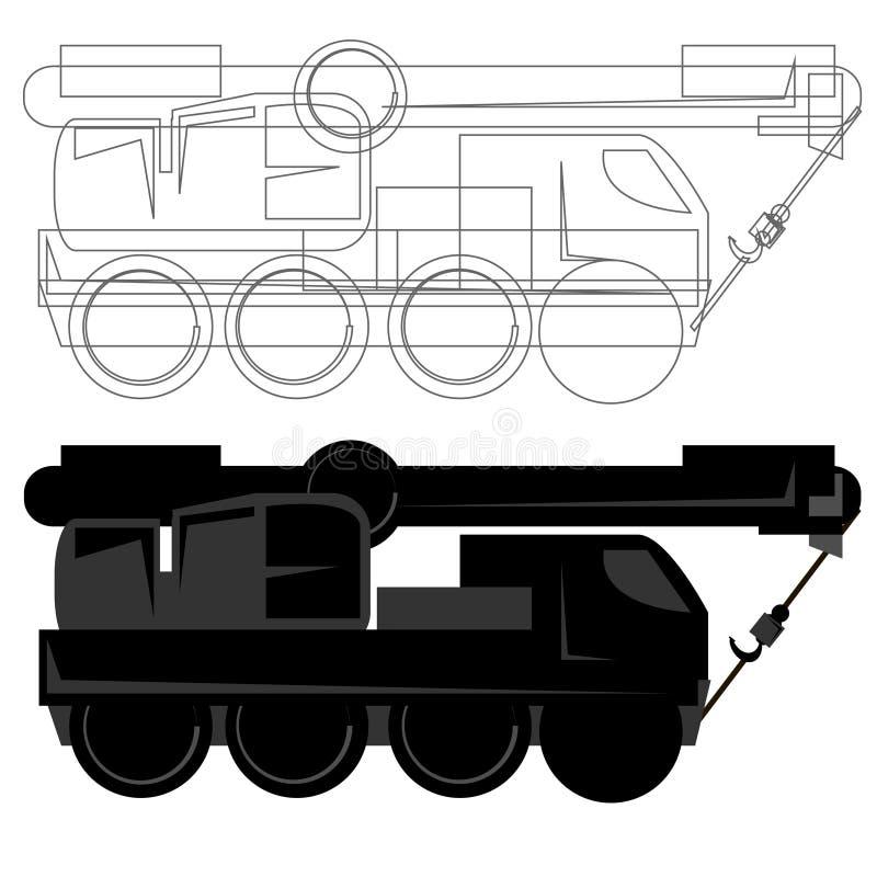 Outline and line truck crane logo flat design vector illustration