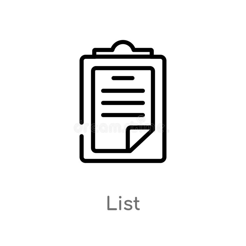 Outline list vector icon. isolated black simple line element illustration from customer service concept. editable vector stroke. List icon on white background royalty free illustration