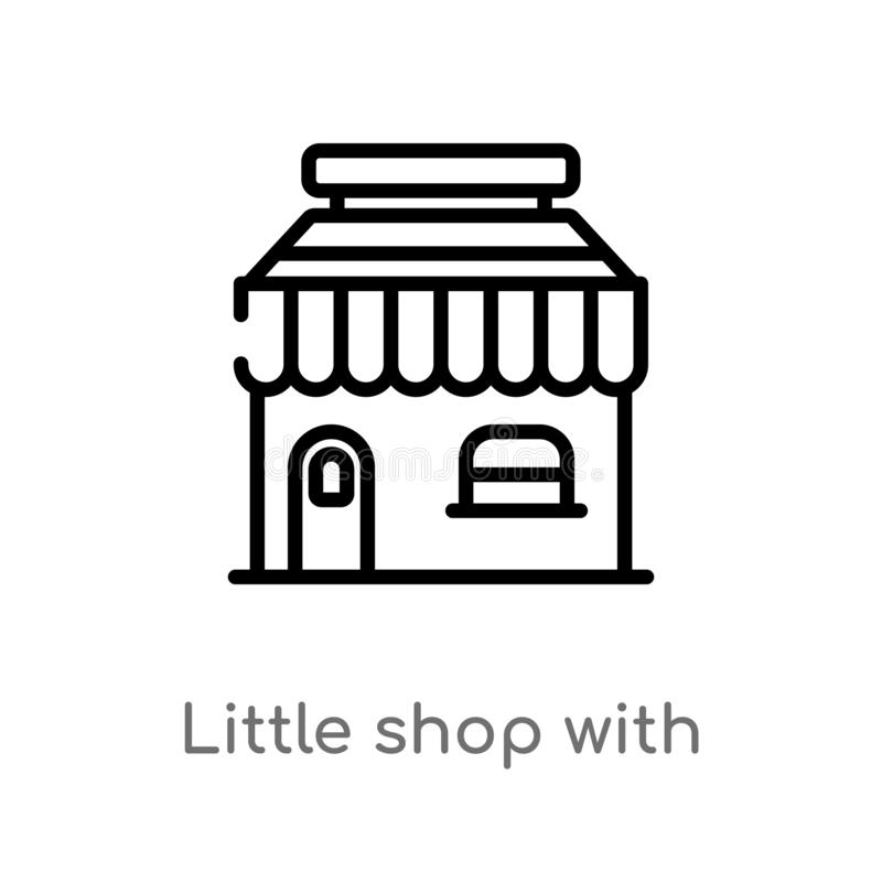 outline little shop with awning vector icon. isolated black simple line element illustration from business concept. editable vector illustration