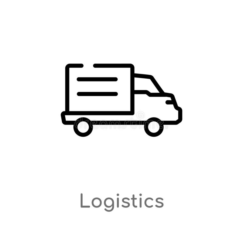 Outline logistics vector icon. isolated black simple line element illustration from delivery and logistic concept. editable vector. Stroke logistics icon on vector illustration