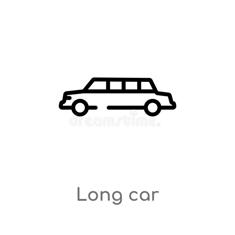 Outline long car vector icon. isolated black simple line element illustration from transport concept. editable vector stroke long. Car icon on white background royalty free illustration