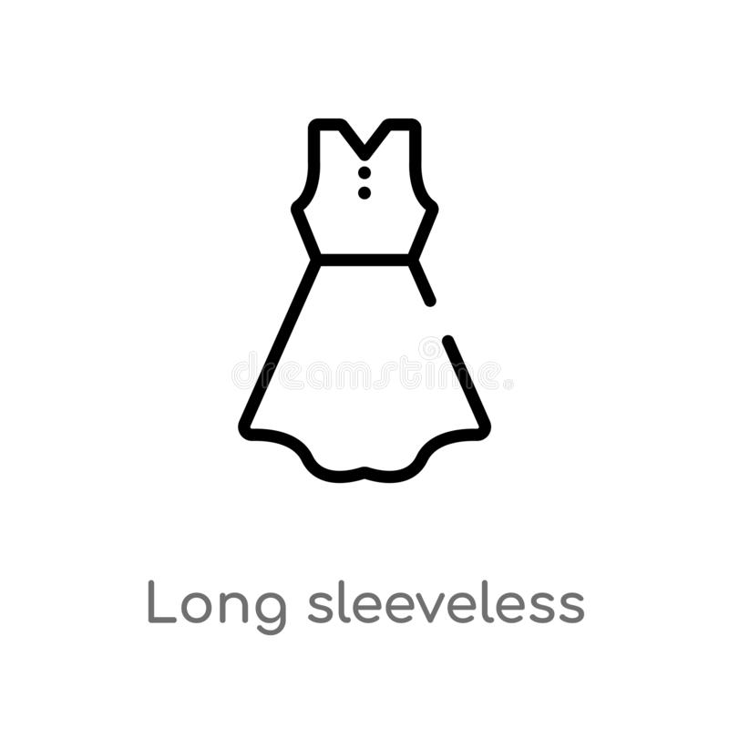 outline long sleeveless dress vector icon. isolated black simple line element illustration from clothes concept. editable vector royalty free illustration