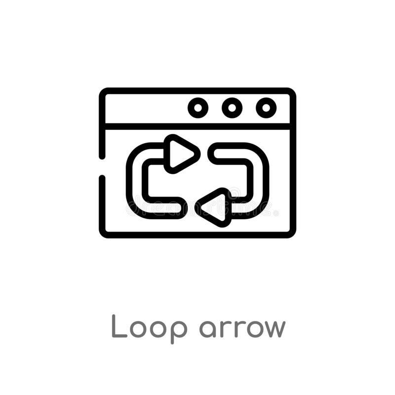 Outline loop arrow vector icon. isolated black simple line element illustration from user interface concept. editable vector. Stroke loop arrow icon on white vector illustration