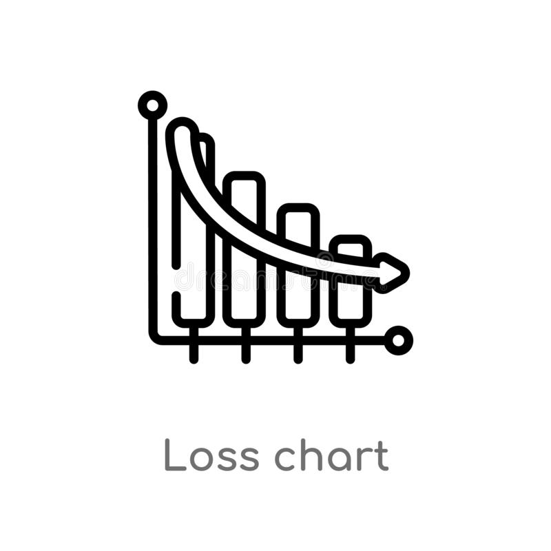 outline loss chart vector icon. isolated black simple line element illustration from business concept. editable vector stroke loss royalty free illustration