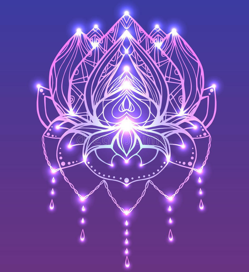 Outline Lotus with boho pattern and bright spark. vector illustration