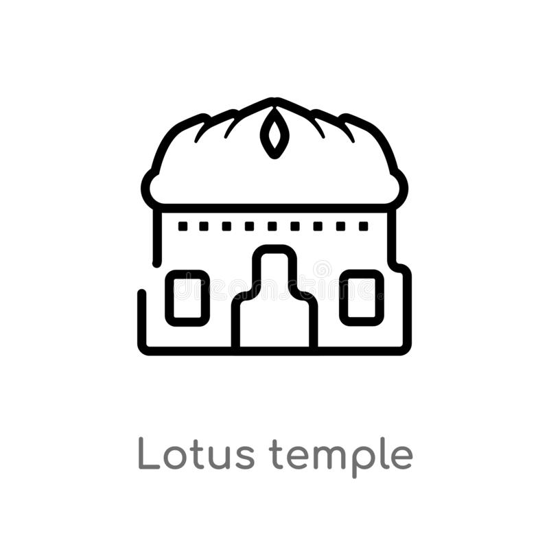 outline lotus temple vector icon. isolated black simple line element illustration from india concept. editable vector stroke lotus vector illustration