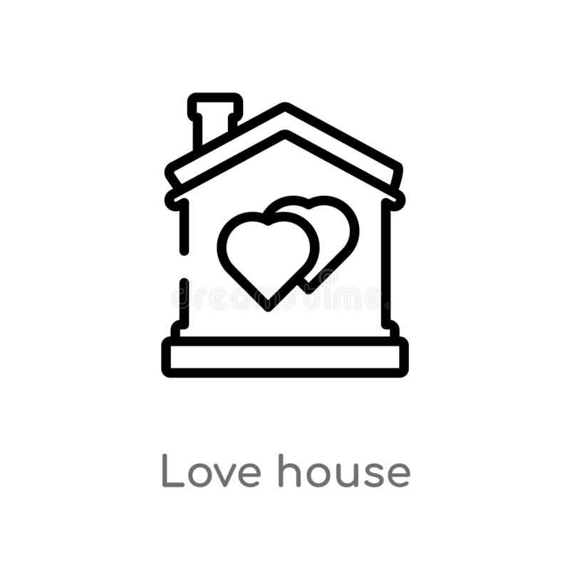 outline love house vector icon. isolated black simple line element illustration from birthday party and wedding concept. editable royalty free illustration