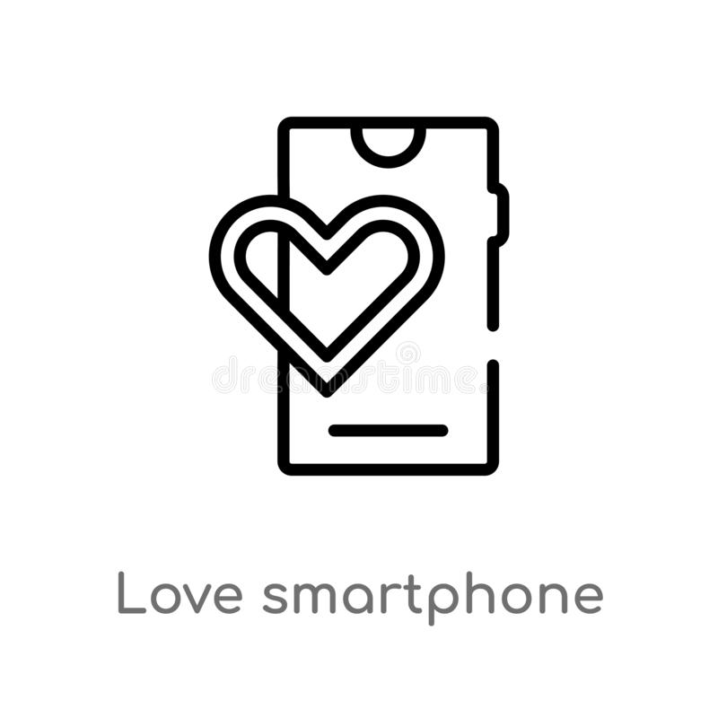 outline love smartphone vector icon. isolated black simple line element illustration from birthday party and wedding concept. stock illustration