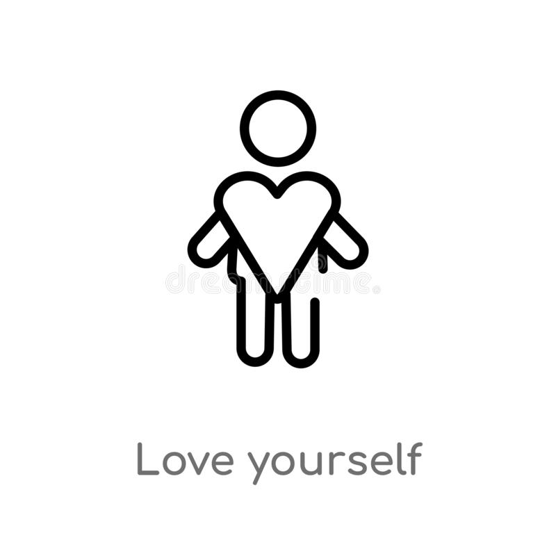 outline love yourself vector icon. isolated black simple line element illustration from people concept. editable vector stroke stock illustration