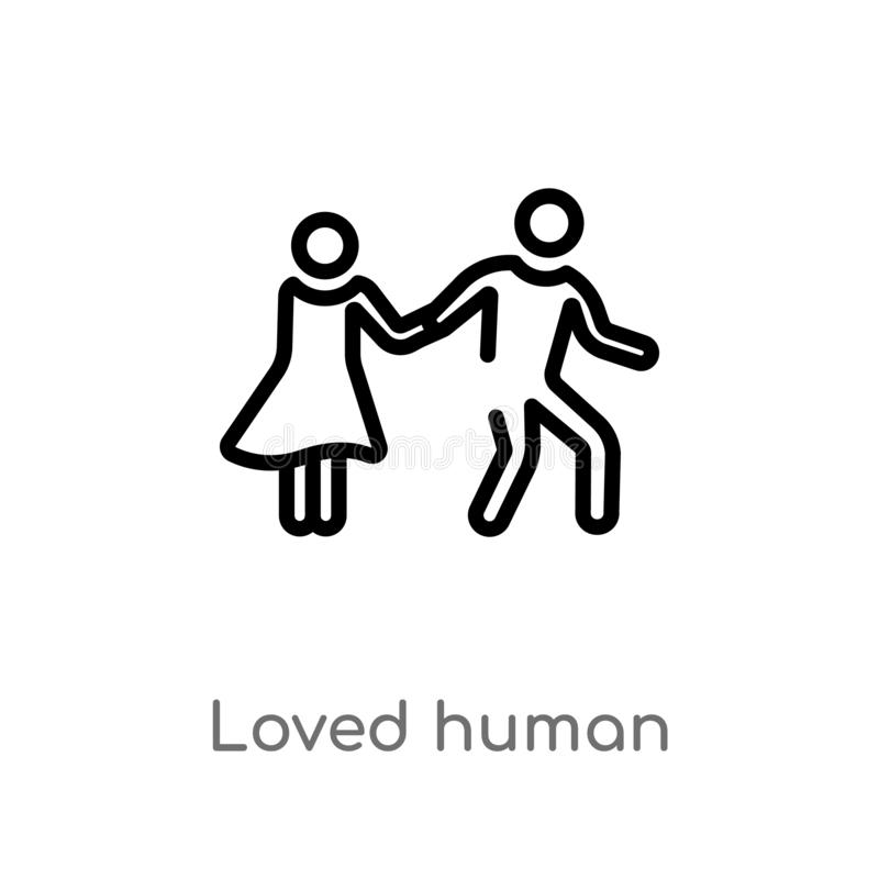 Outline loved human vector icon. isolated black simple line element illustration from feelings concept. editable vector stroke. Loved human icon on white stock illustration