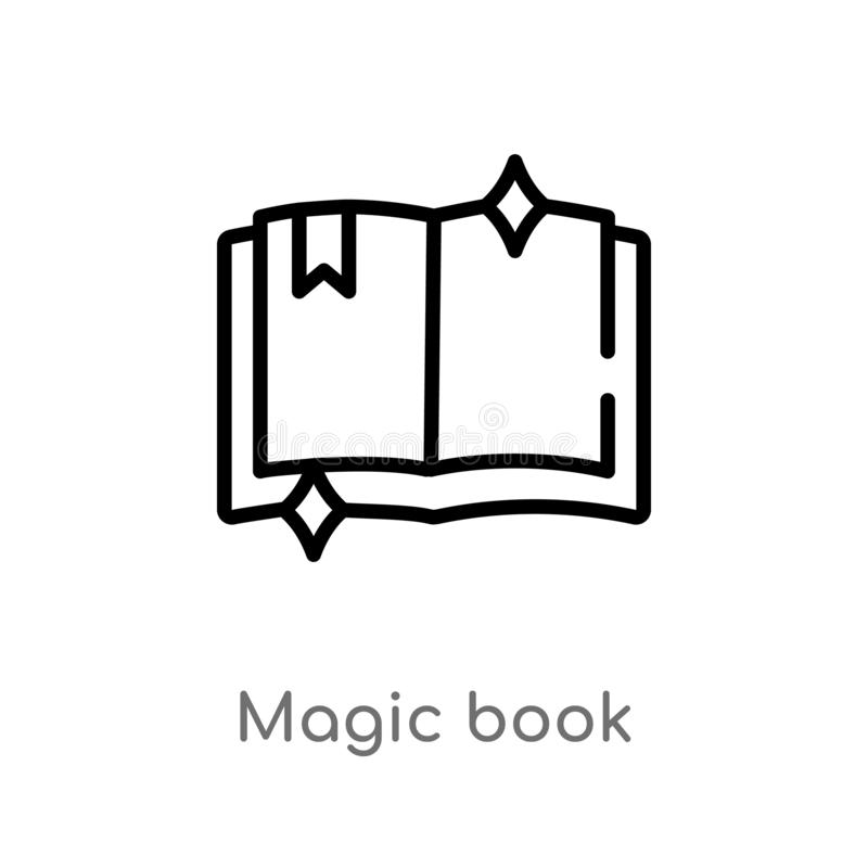 Outline magic book vector icon. isolated black simple line element illustration from magic concept. editable vector stroke magic. Book icon on white background vector illustration