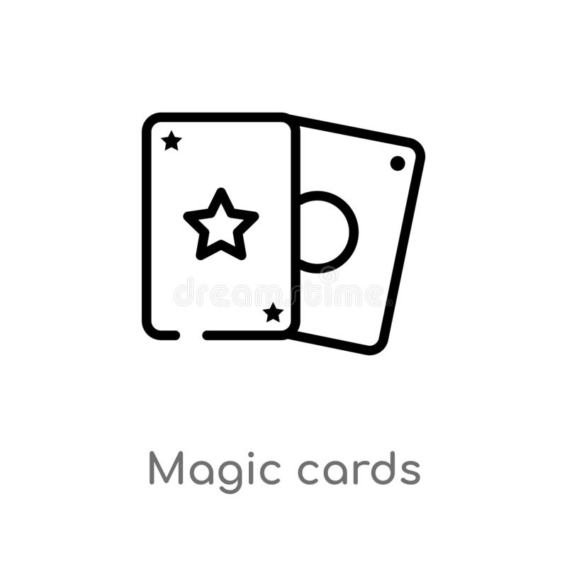 outline magic cards vector icon. isolated black simple line element illustration from entertainment and arcade concept. editable vector illustration