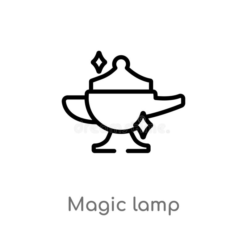 outline magic lamp vector icon. isolated black simple line element illustration from magic concept. editable vector stroke magic royalty free illustration