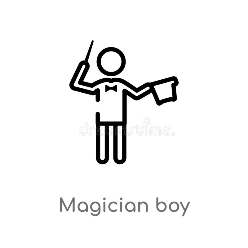 outline magician boy vector icon. isolated black simple line element illustration from people concept. editable vector stroke royalty free illustration