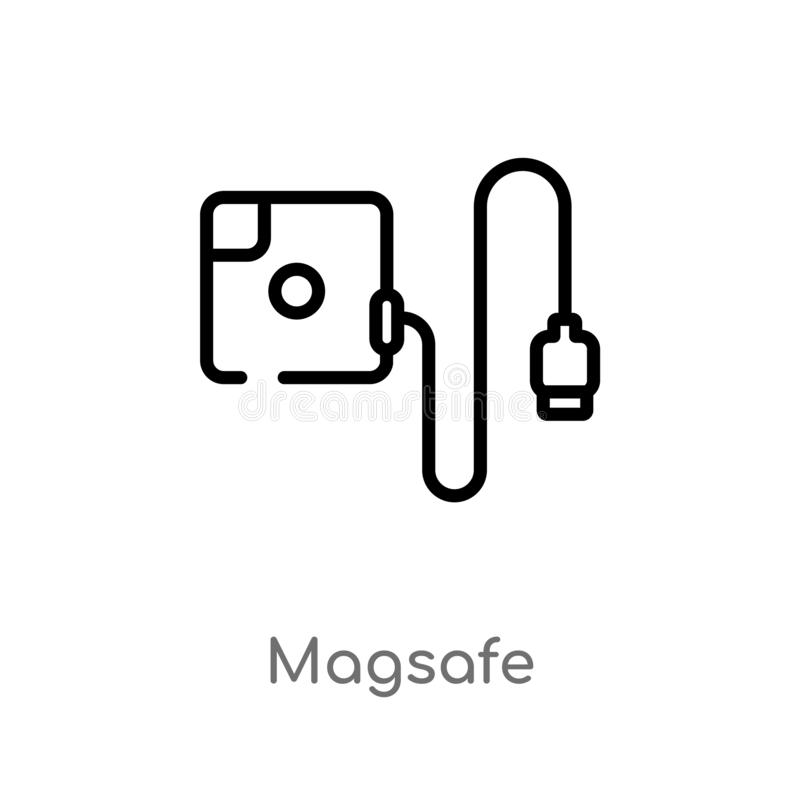Outline magsafe vector icon. isolated black simple line element illustration from electronic devices concept. editable vector. Stroke magsafe icon on white vector illustration