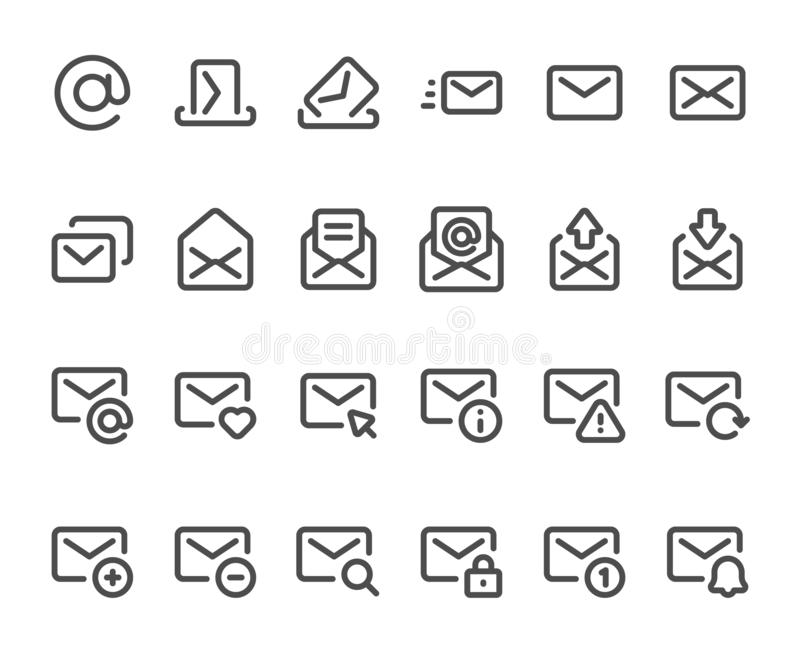 Outline mail icon. Mailbox envelope, email inbox messages and line mails icons vector set vector illustration