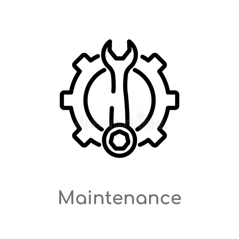 Outline maintenance vector icon. isolated black simple line element illustration from industry concept. editable vector stroke. Maintenance icon on white vector illustration