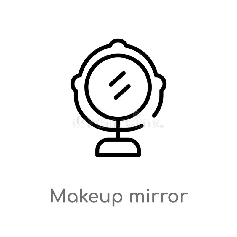 Free Outline Makeup Mirror Vector Icon. Isolated Black Simple Line Element Illustration From Beauty Concept. Editable Vector Stroke Royalty Free Stock Photography - 144271577