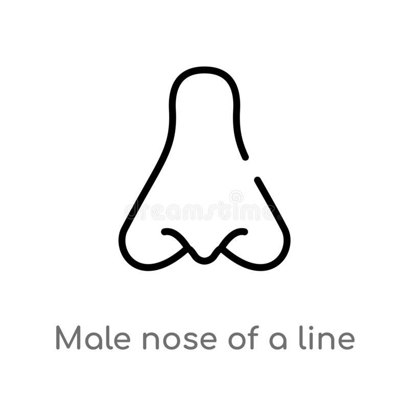 outline male nose of a line vector icon. isolated black simple line element illustration from human body parts concept. editable vector illustration