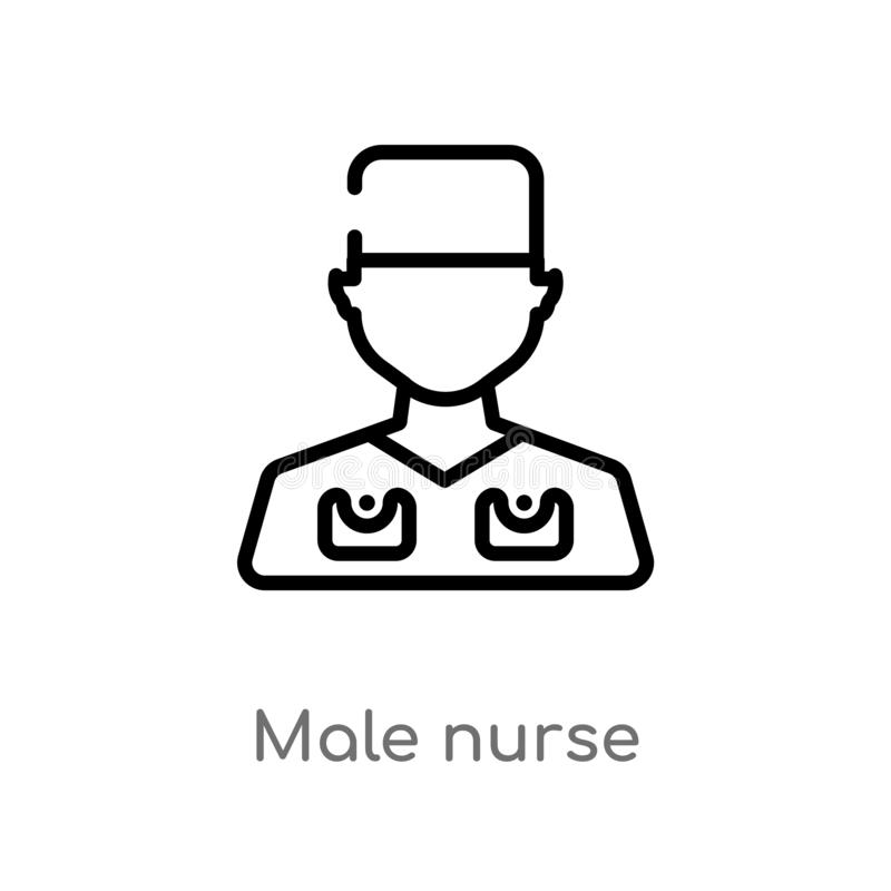 outline male nurse vector icon. isolated black simple line element illustration from dentist concept. editable vector stroke male royalty free illustration