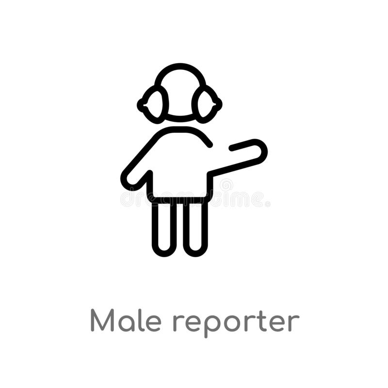 outline male reporter vector icon. isolated black simple line element illustration from people concept. editable vector stroke vector illustration
