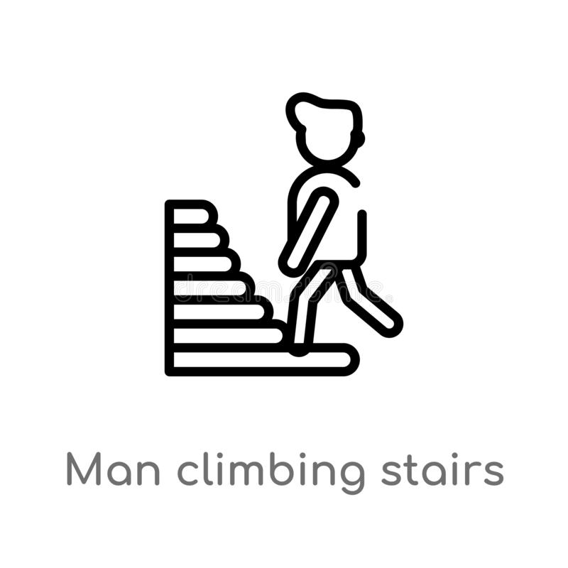 outline man climbing stairs vector icon. isolated black simple line element illustration from people concept. editable vector stock illustration