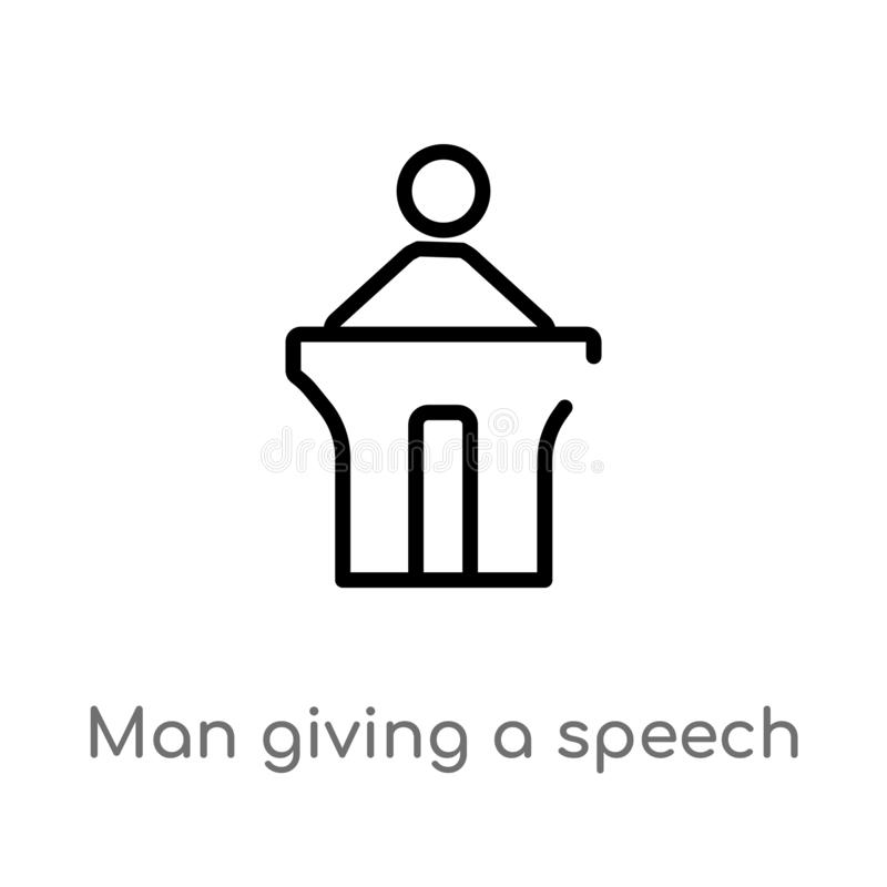 outline man giving a speech vector icon. isolated black simple line element illustration from people concept. editable vector vector illustration