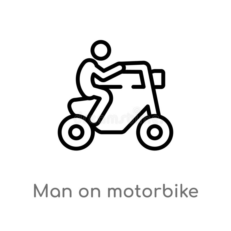 outline man on motorbike vector icon. isolated black simple line element illustration from ultimate glyphicons concept. editable vector illustration