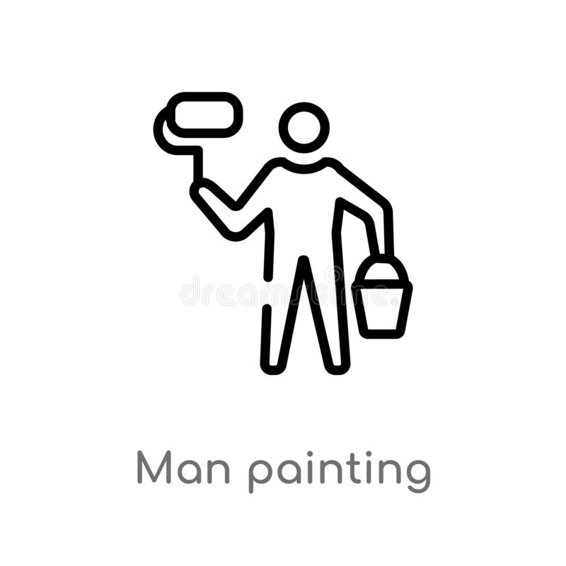 Outline man painting vector icon. isolated black simple line element illustration from construction concept. editable vector. Stroke man painting icon on white stock illustration