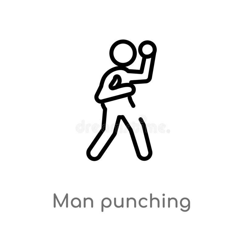 Free Outline Man Punching Vector Icon. Isolated Black Simple Line Element Illustration From Sports Concept. Editable Vector Stroke Man Stock Photography - 144318542