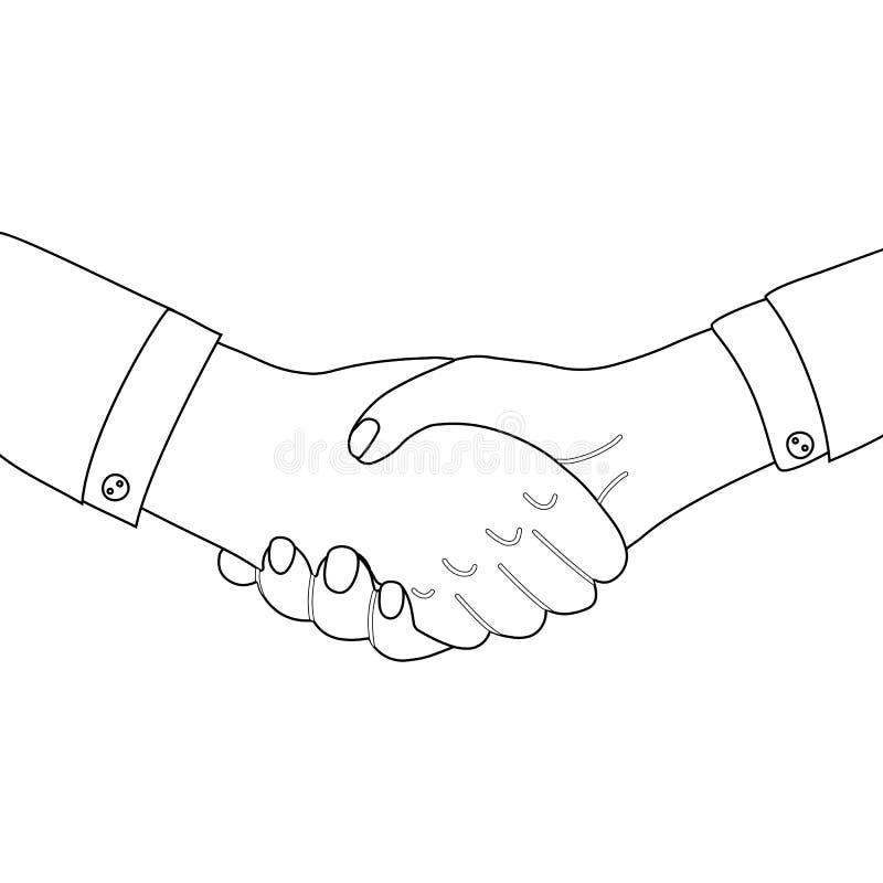 Outline man shaking hands. Line art businessman making a deal. International Friendship Day. Vector black and white illustration royalty free illustration