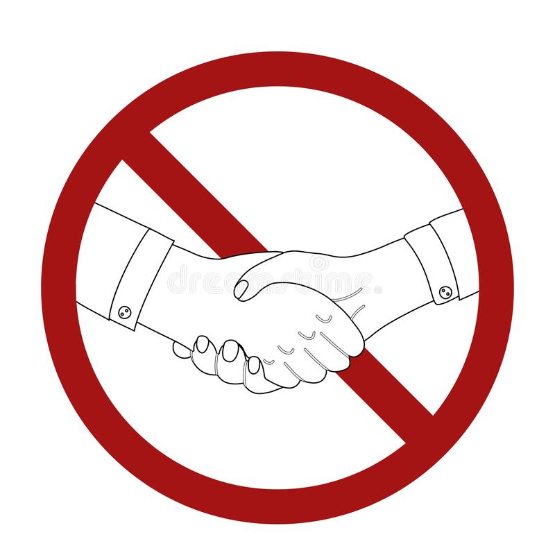 Outline man shaking hands in prohibition sign. Line art businessman in rivalry. War and confrontation. Ban on making a deal. Vector black and white vector illustration