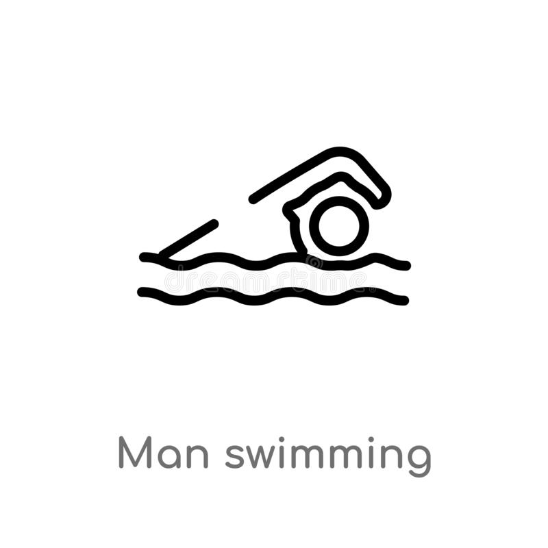 Outline man swimming vector icon. isolated black simple line element illustration from gym and fitness concept. editable vector. Stroke man swimming icon on royalty free illustration